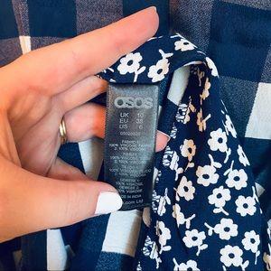 ASOS Dresses - ASOS Blue Gingham Floral Contrast Cut Out Dress